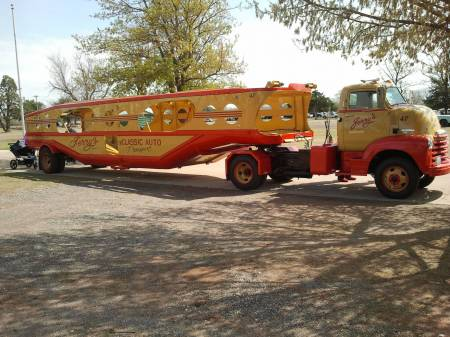"OKC Street Rod 2013- MHS ""Clipper"" Vintage Art Deco Car Transporter pulled by..."